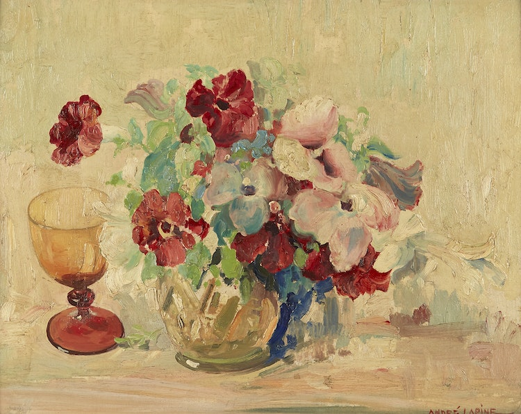 Artwork by Andreas Christian Gottfried Lapine,  Petunias in a Bowl