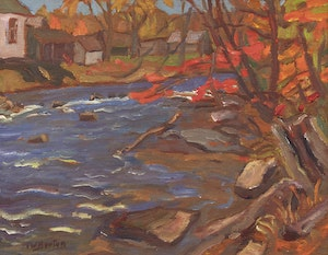 Artwork by Ralph Wallace Burton, Old Mill Property, Glen Tay River near Perth, Ont.