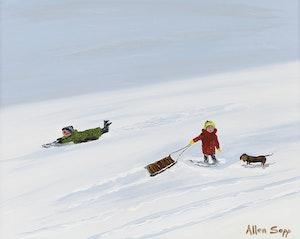 Artwork by Allen Sapp, Fun on the Hill