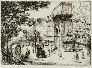 Artwork by Frank Milton Armington, Boulevard St. Denis, Paris