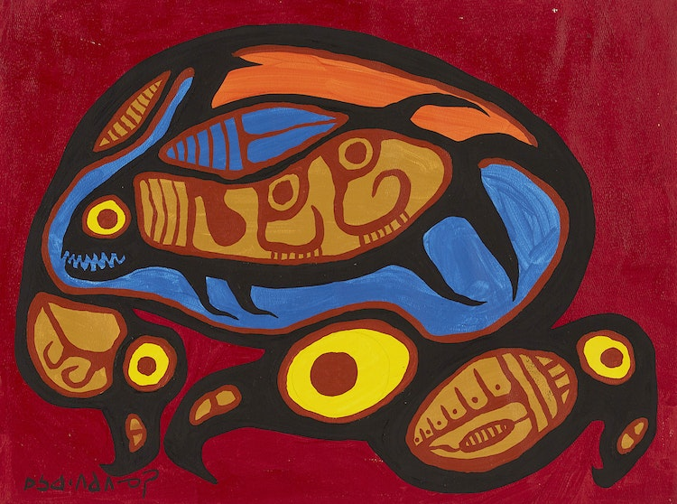 Artwork by Norval Morrisseau,  Birds and Fish II