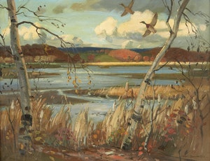 Artwork by Frank Shirley Panabaker, Autumn Landscape