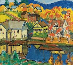 Artwork by Randolph Stanley Hewton, Village in Autumn