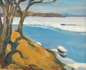 Artwork by Henrietta Mabel May, Shoreline Landscape / Farm Scene
