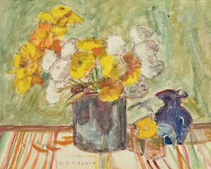 Artwork by Bernice Fenwick Martin, Gold and White Blooms