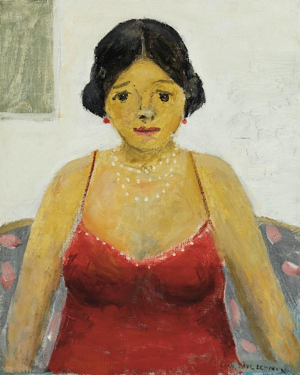 Artwork by Jean Paul Lemieux,  Dame au collier de perles