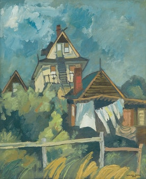 Artwork by Maxwell Bennett Bates, House by the Sea