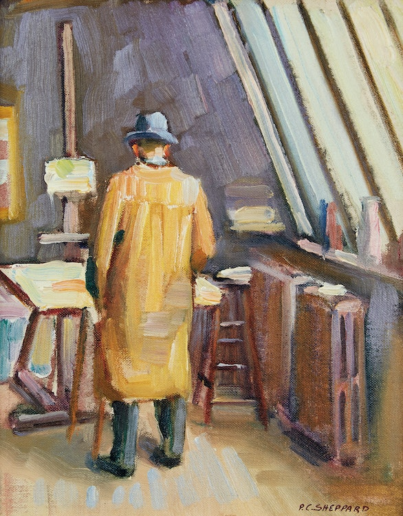 Artwork by Peter Clapham Sheppard,  In the Artist's Studio, Bathurst and Bloor