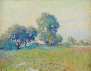 Artwork by William Henry Clapp, Misty Summer Morning, St. Eustache
