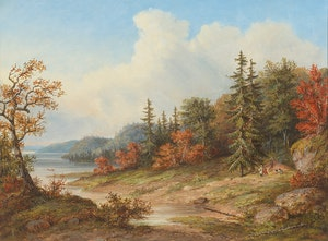 Artwork by Cornelius Krieghoff, Indian Encampment on the Lower St. Lawrence