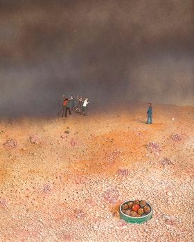 Artwork by William Kurelek, Bad Companions (Temptation in the Desert Series)