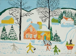 Artwork by Maud Lewis, Children Walking in the Snow