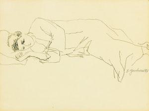 Artwork by Betty Roodish Goodwin, Reclining Woman