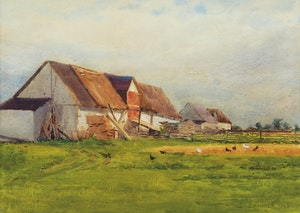 Artwork by William Brymner, Chickens Feeding on the Farm