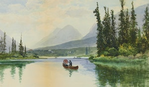 Artwork by Frederic Marlett Bell-Smith, Canoeing in the Rockies