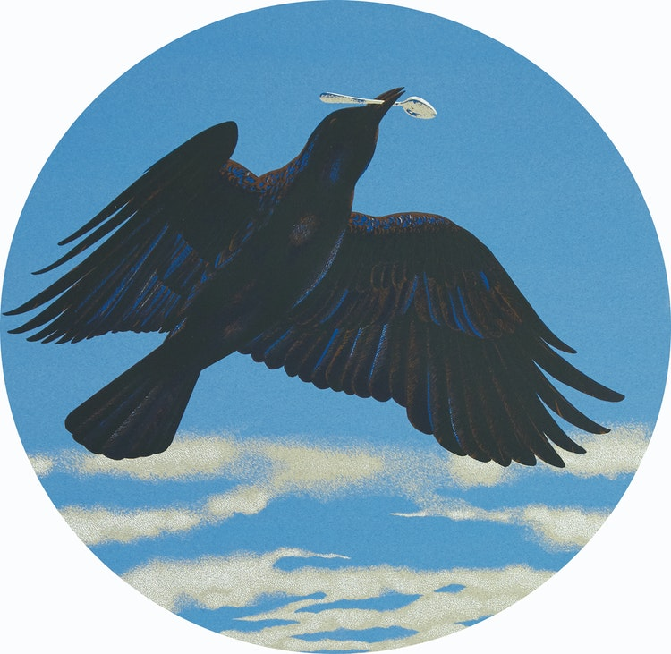 Artwork by David Alexander Colville,  Crow With A Silver Spoon