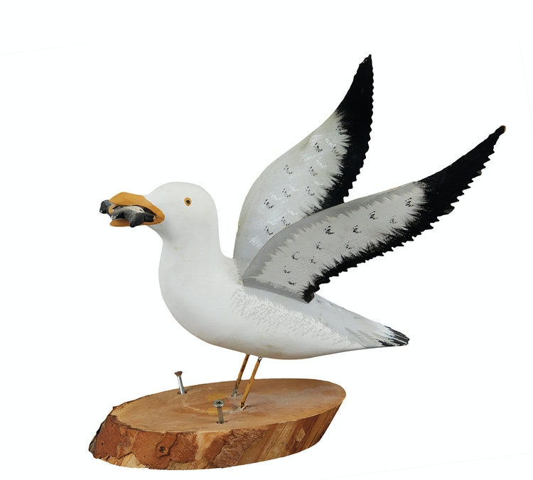Artwork by  20th Century Canadian Folk artist,  White Seagull Holding Fish