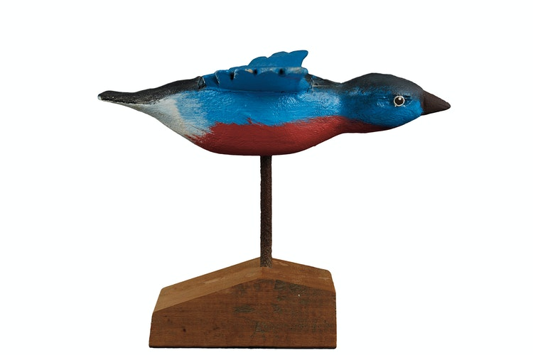 Artwork by  20th Century Canadian Folk artist,  Blue Bird with Red Belly