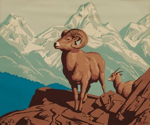 Artwork by Alfred Joseph Casson, Bighorn Sheep