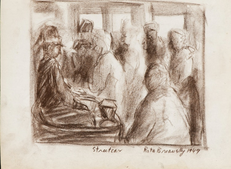 Artwork by Rita Briansky,  Rain; Self Portrait; After Modigliani; Streetcard