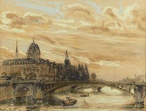 Artwork by Joseph Francis Plaskett, La Concièrgerie au Crepuscule, Paris