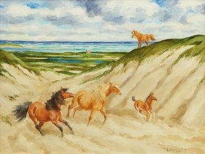 Artwork by John Douglas Lawley, Sable Island Ponies