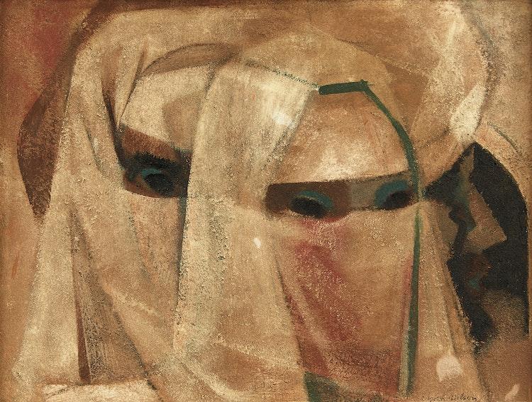 Artwork by Ronald York Wilson,  Three Moroccans