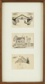 Artwork by Thoreau MacDonald, Fishing Under Log Bridge Near Thornhill; Farmer Hoeing; Rabbit and Flying Bird