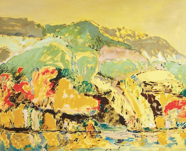 Artwork by David T Alexander,  Rocky Mountain Lake