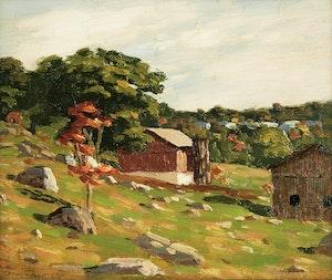 Artwork by George Thomson, The Hillside Farm