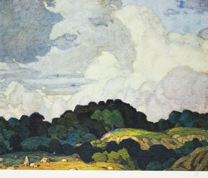 Artwork by Alfred Joseph Casson, Sunlit Hill; Valley Farm; Autumn on the York River