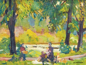 Artwork by Peter Clapham Sheppard, Picnic by the Humber