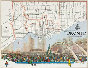 Artwork by William Kurelek, Map of Toronto