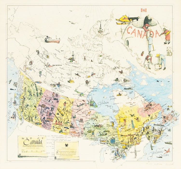 Artwork by William Kurelek,  Map of Canada