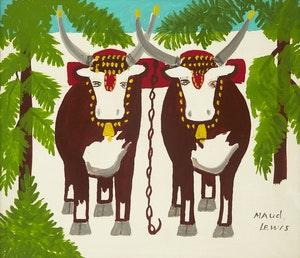 Artwork by Maud Lewis, Pair of Oxen in Winter
