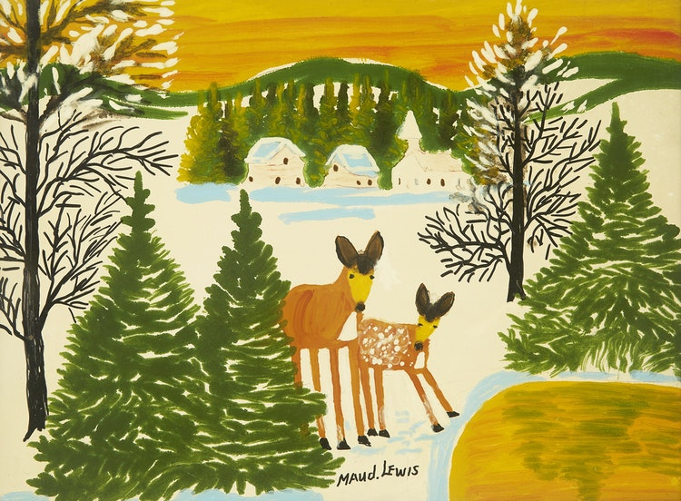 Artwork by Maud Lewis,  Deer by a Pond
