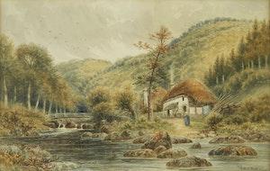 Artwork by Frederick Arthur Verner, Cottage by the Stream