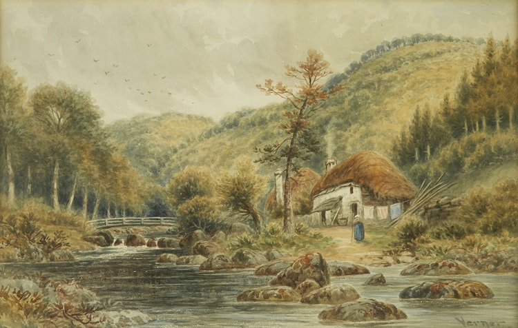 Artwork by Frederick Arthur Verner,  Cottage by the Stream