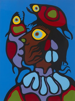 Artwork by Norval Morrisseau, Thinking of Fishes