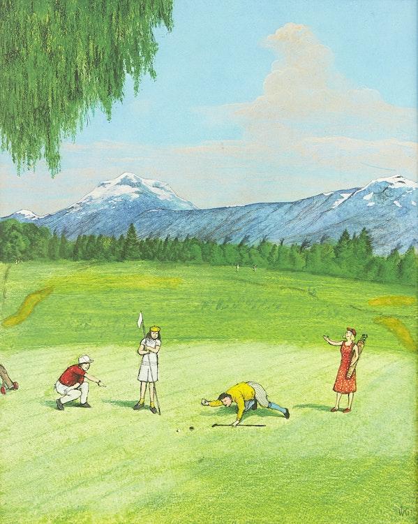 Artwork by William Kurelek,  The Last Putt