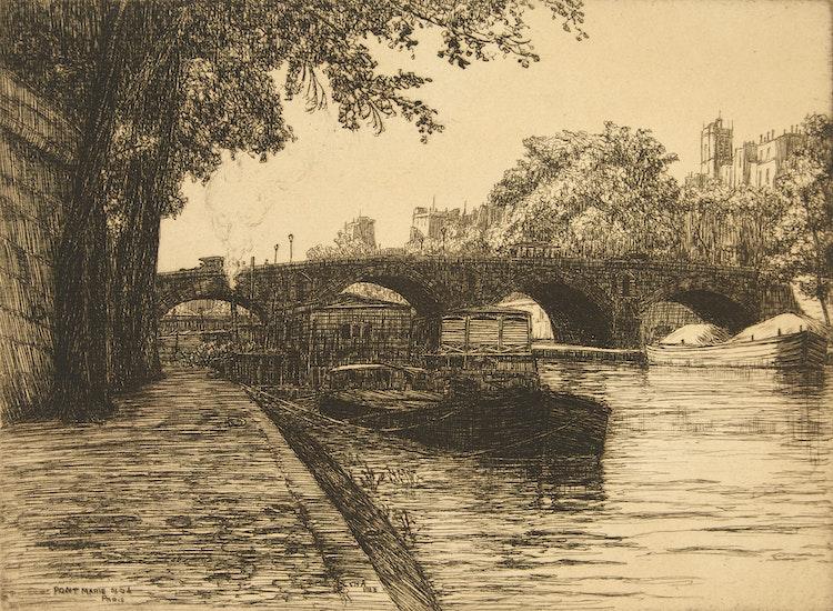 Artwork by Caroline Helena Armington,  Pont Marie, Paris, No.1; Le Pont des Arts, Paris No. 2