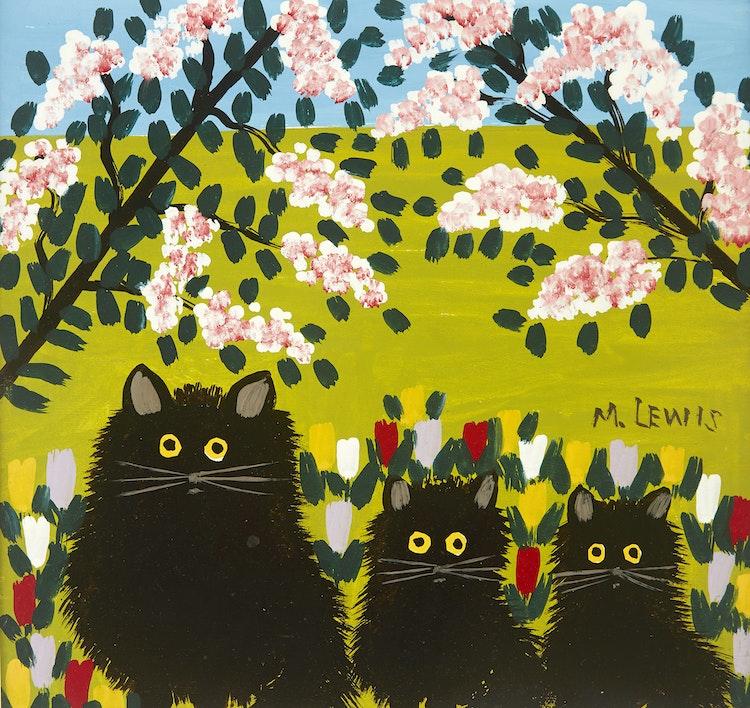 Artwork by Maud Lewis,  Three Black Cats