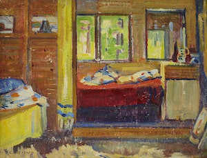 Artwork by Peter Clapham Sheppard, Cottage Interior, Prospect Lake, 1944