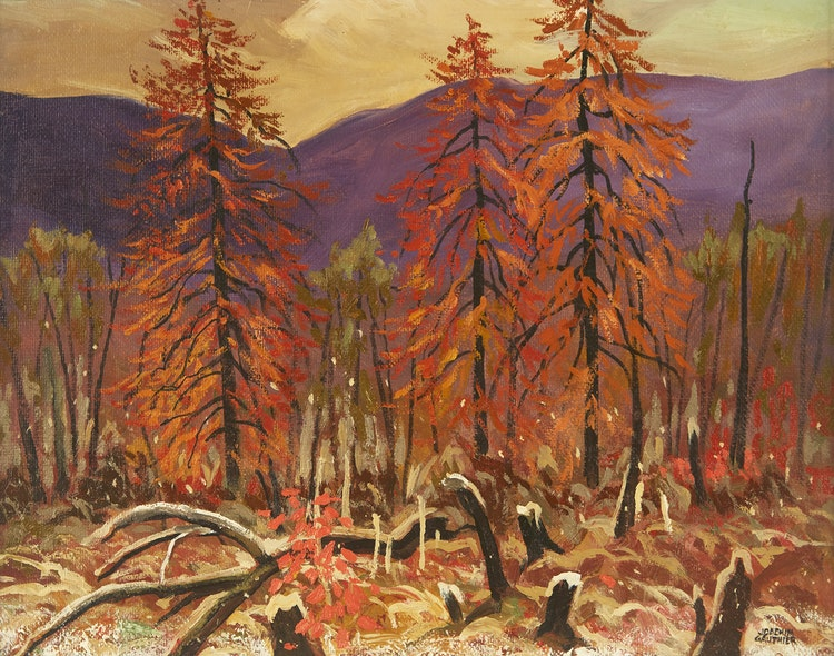 Artwork by Joachim George Gauthier,  Tamaracks and Early Snowfall