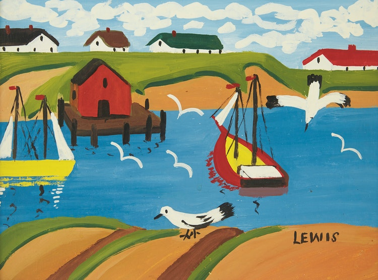 Artwork by Maud Lewis,  Harbour Scene