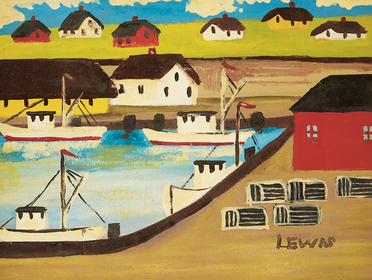 Artwork by Maud Lewis,  Fishing Boats and Lobster Traps