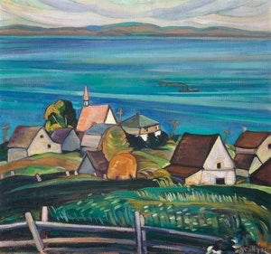 Artwork by Nora Frances Elisabeth Collyer, Village on the St. Lawrence River