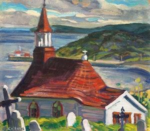 Artwork by Nora Frances Elisabeth Collyer, Indian Church, Tadoussac, Quebec