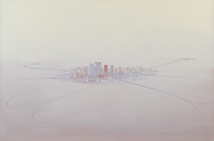 Artwork by Wanda Koop,  Beige Metropolis (Satellite Cities Series)