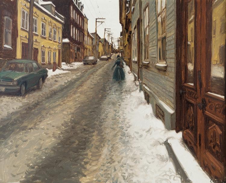 Artwork by John Geoffrey Caruthers Little,  Dimanche matin, rue St. Olivier entre côte St. Augustin et côte Ste. Geneviève, Quebec